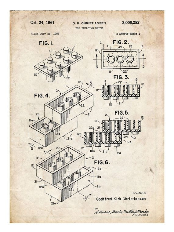 Best 25 us patent ideas on pinterest man shed blueprints lego toy building construction blocks 1961 us patent print 18x24 movie poster gift this will malvernweather Choice Image