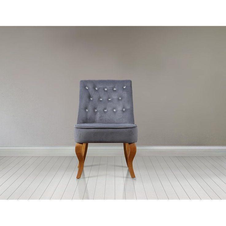 Cocktail Chair Foam Medium Soft Wood Velvet Grey Hallway Living Room Furniture