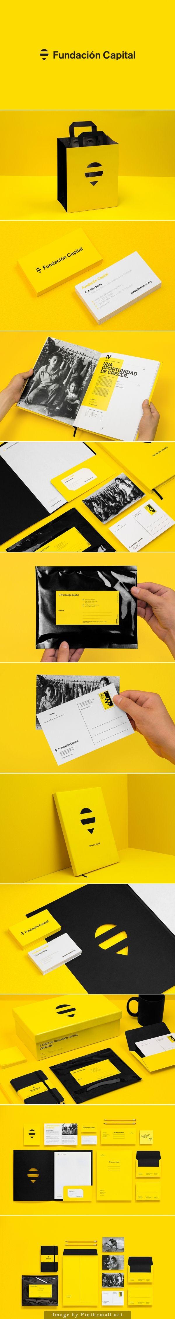 Corporate identity branding stationary yellow black enveloppe business card letterhead cover shopping bag logo postcard brochure graphic design