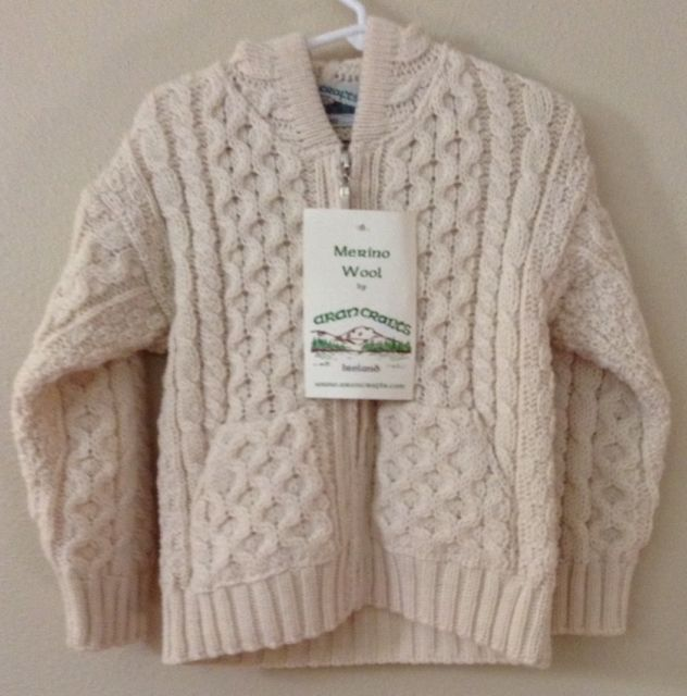 NWT Aran Crafts 2/3T Youth Merino Wool Ivory Irish Sweater Ireland Fisherman | eBay