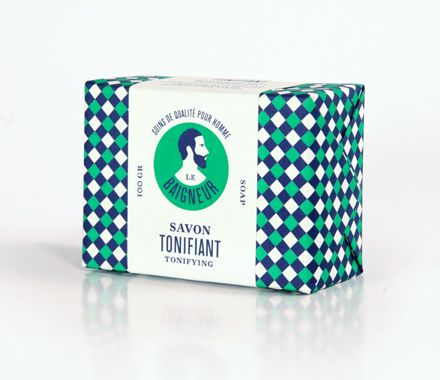 Patterned box (wrapping paper), then a sleeve. Savon Tonifiant - Tonifying Soap