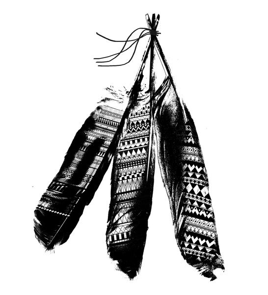 Tribal Feather Trio Art Print
