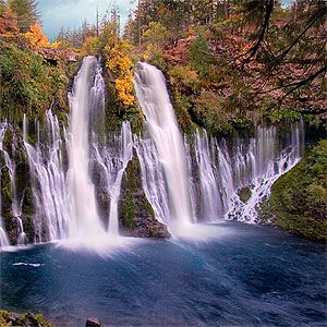 Burney Falls in Northern CA. Beautiful to see and nice hiking trails in the park as well.