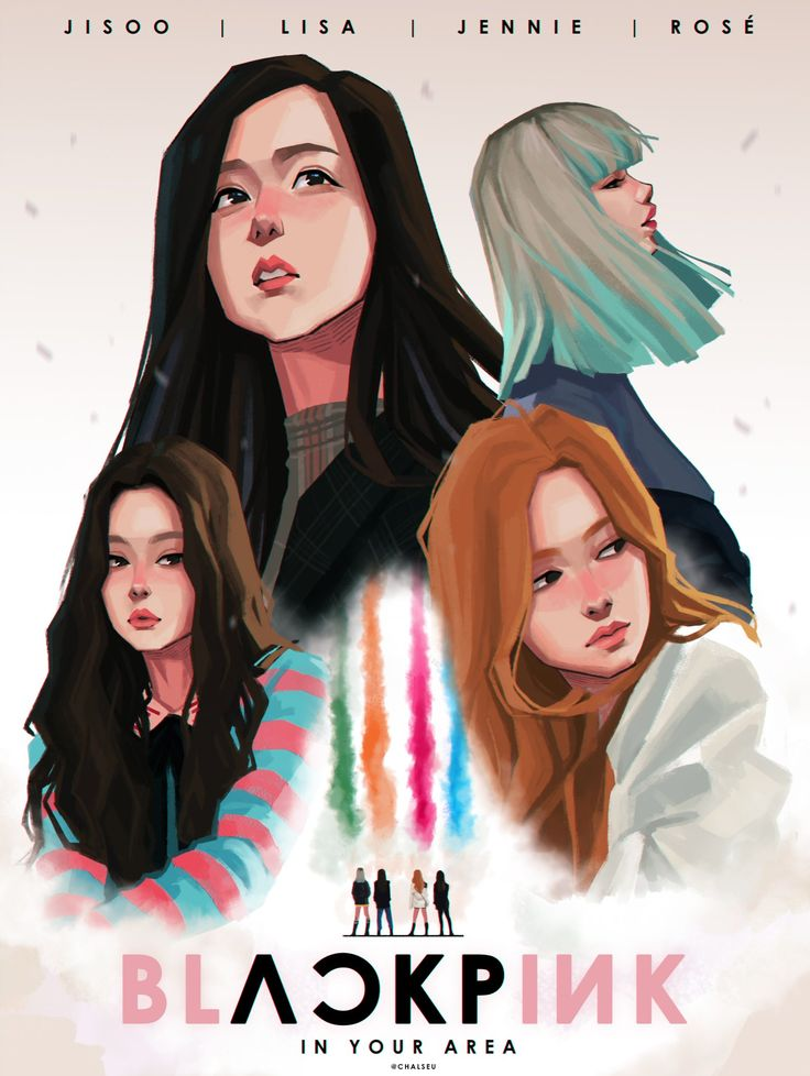 "Fan art of Jisoo, Lisa, Jennie, and Rosé of BLΛƆKPIИK from their music video, ""Stay"". 
