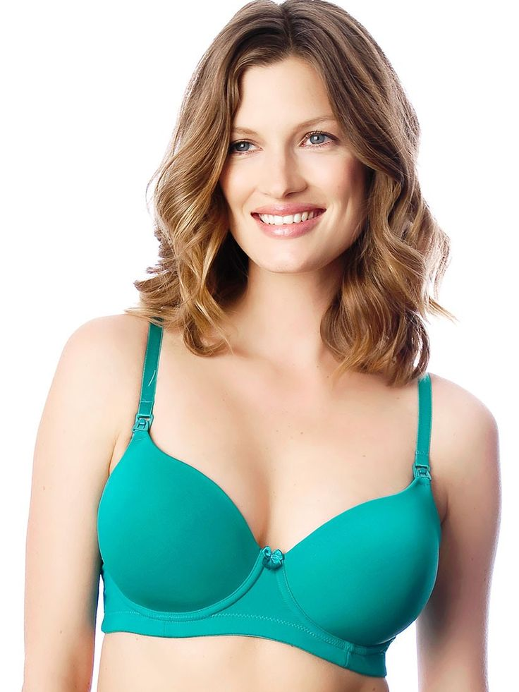 HOTmilk Forever Yours Nursing Bra in Emerald from breastmates.co.nz -- The ultimate smooth T-shirt breastfeeding bra, with a great colour pop! The adjustable straps can be worn as standard or with a back crossover. Flexi-wire for added shape and support.