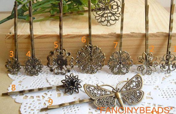 whole set-9 kinds-9 pcs sturdy brass material bobby pin bases-F486