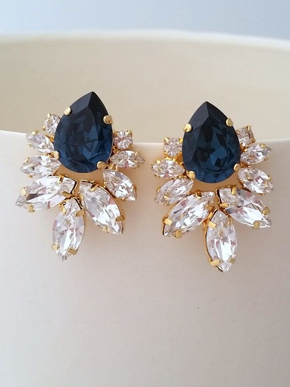 Bridal Earrings Navy Blue Crystal Statement Stud Extra Large Cer