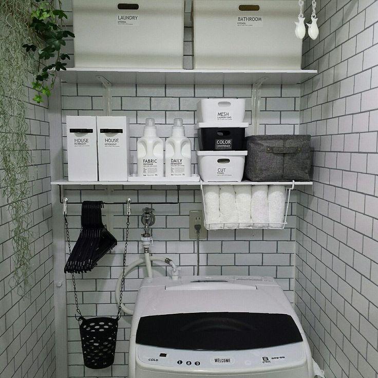 Bathroom/DIY/ニトリ/セリア/モノトーン/壁紙屋本舗...などのインテリア実例 - 2016-10-05 09:50:33