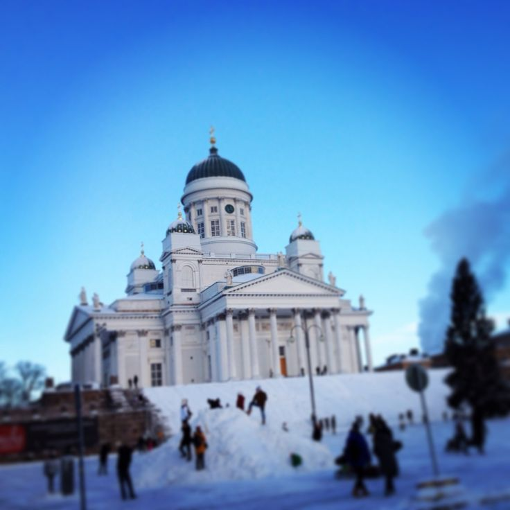 Merry Christmas from Helsinki Finland. We have snow amd -5C. On the picture you can see the white lutheran church at the senate square.