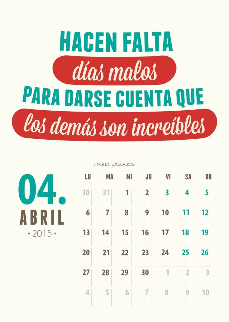 Imprimible: Calendario Abril 2015
