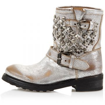 """ASH mod. 15796/TITANIC PLUTON SILVER Round toeline, Rubber sole, Buckle fastening at ankle, Aged effect silver [Art. """"15796/TITANIC PLUTON SILVER""""]."""