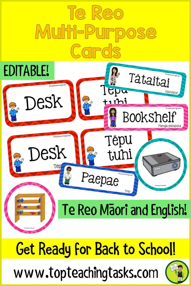 Teach Te Reo Māori in your classroom with these great multi-purpose cards.   These cards come in both English and Te Reo Māori. This product is now editable. Type into blank labels at the end of the product to create your own labels! #labels #tereo #classroom #BacktoSchool #BacktoSchoolNZ