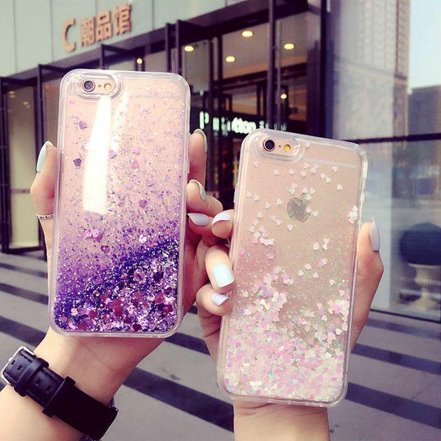 Hot limpar glitter líquido areia fluorescente coração limpar voltar bling bling case capa para iphone 5 5s 6 6 s plus 4 4g 4S 7 casos de telefone celular