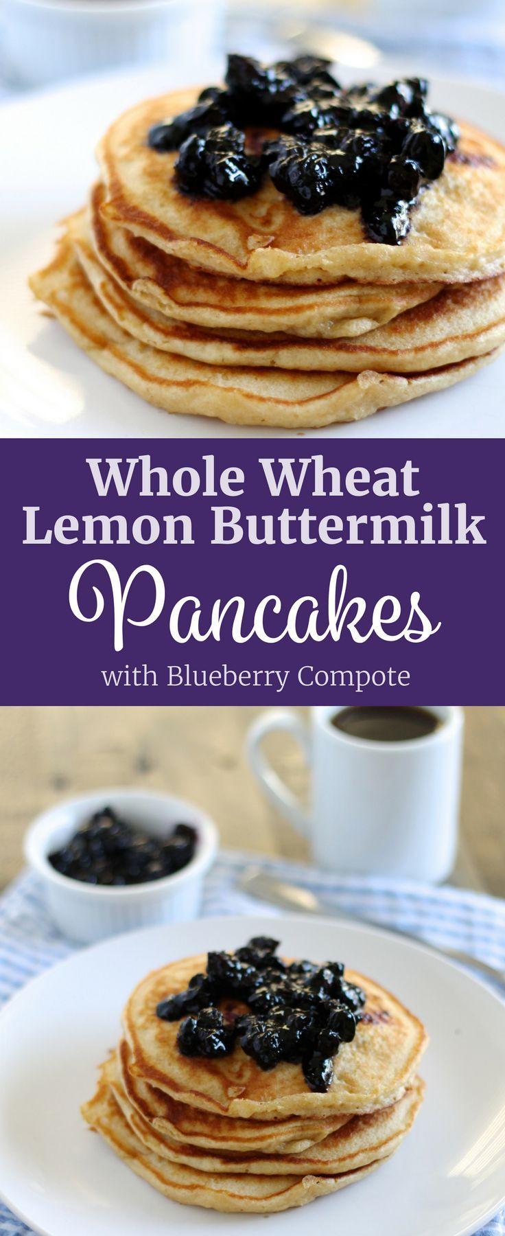 Whole Wheat Lemon Buttermilk Pancakes With Blueberry Compote Recipe Blueberry Compote Blueberry Compote Recipe Compote Recipe