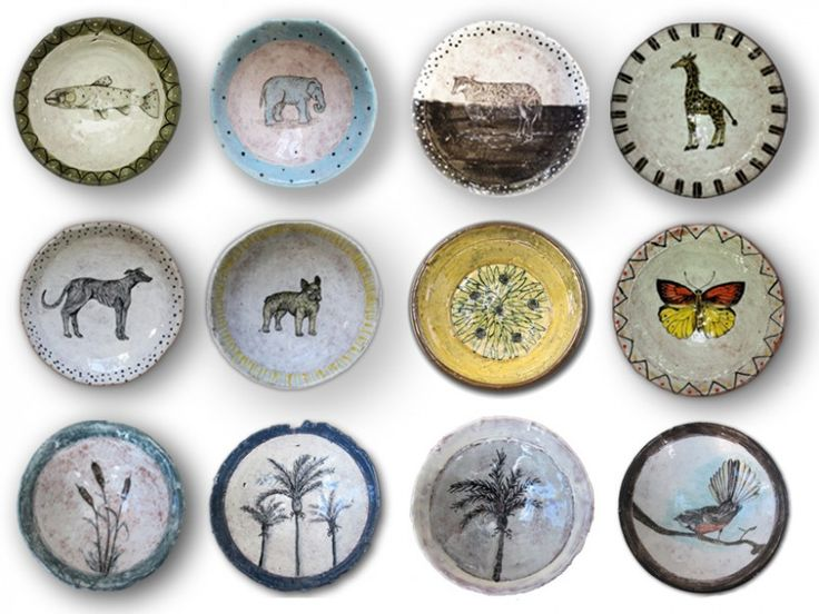 Hand-built and painted ceramic dishes