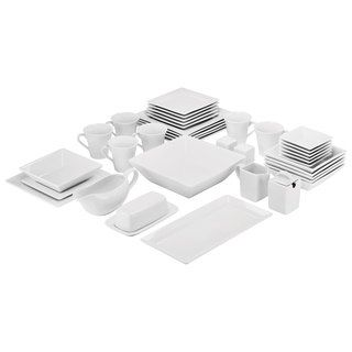 10 Strawberry Street Simply Square Porcelain Dining Set (40 Pieces) | Overstock.com Shopping - The Best Deals on Casual Dinnerware