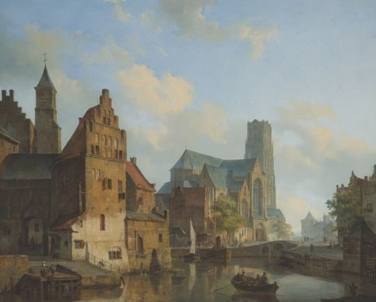 Cornelis Springer (1817-1891) - A view of the Delftse Vaart and St Laurens Church, Rotterdam