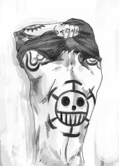 Trafalgar Law - One Piece. I'm not usually a fan of tattoo but his ...