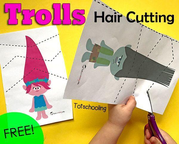 Trolls gratuito inspirado paquete de corte para practicar las habilidades de tijera y la motricidad fina.  Grande para los niños en edad preescolar y jardín de niños que aman a los trolls de la película.