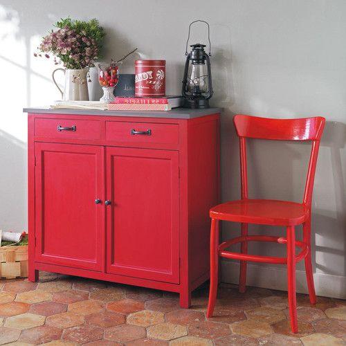 Credenza rossa in legno L 90 cm