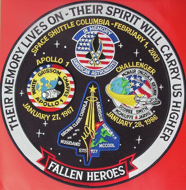 Apollo 1 Challenger Columbia | Apollo 1 Space Shuttle Columbia Challenger Embroidered Tribute Art ...