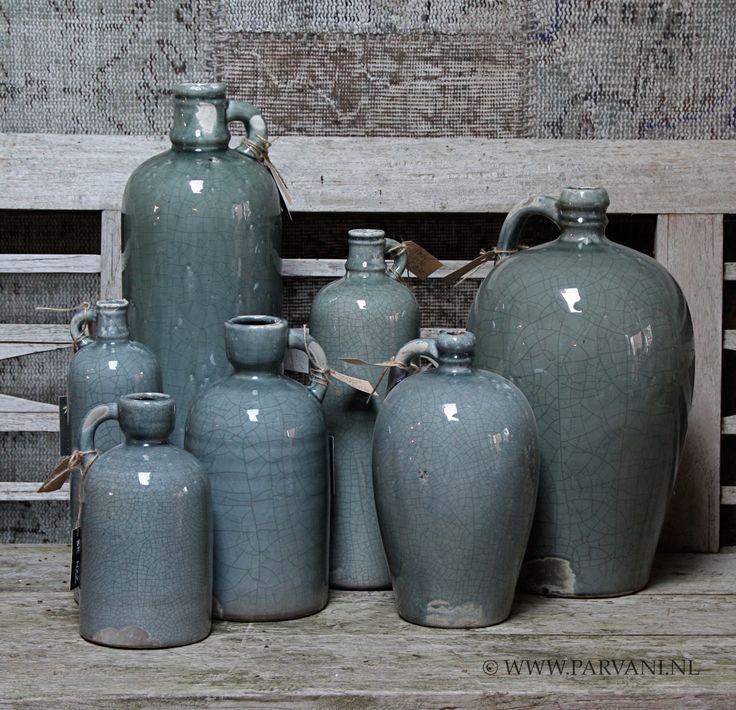 Parvani | Vazen-groen-grijs-Brynxz-flessen-potten-blauw