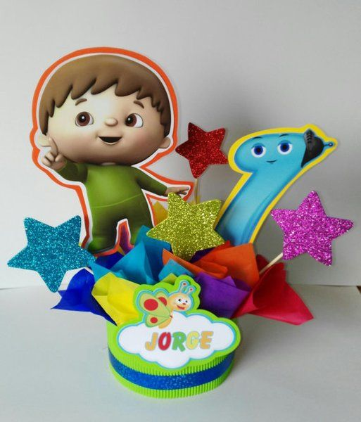 Baby tv centerpiece, party decoration, birthday centerpiece, baby tv centerpiece inspirated, 4 centerpiece | Happy Party