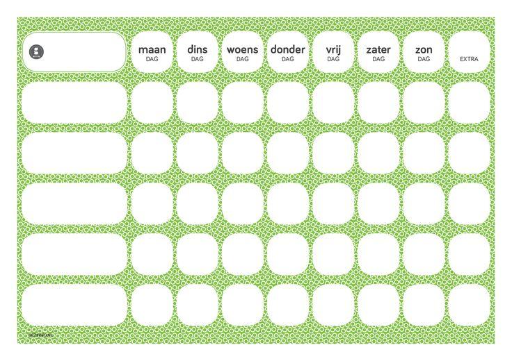 Gezinnig Weekly is een blanco weekoverzicht dat je op verschillende manieren kunt gebruiken. Print 'm uit, zo vaak je wilt. Verkrijgbaar in 4 kleuren.  TEAMWORK TAKEN (takenschema)Gebruik het schema om af te spreken wie wanneer welke taken uitvoert in je gezin. Daar kun je niet vroeg genoeg mee beginnen! Noteer aan de linkerkant de taken (bijvoorbeeld koken, tafel dekken/afruimen en huisdier eten geven) en vul per dag de namen in. WEEKPLANNER (weekoverzicht)Het weekschema is ook geschikt om…