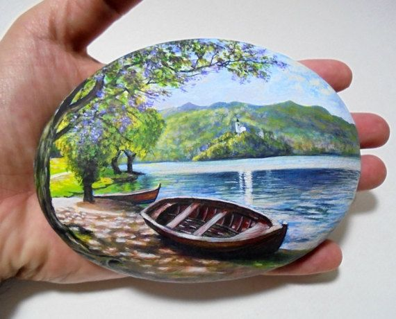 Rock Painting Landscape With Boat Next To The Lake  Painted