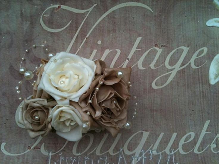 WRIST CORSAGE VINTAGE MOCHA IVORY PEARLS WEDDING PROM   eBay