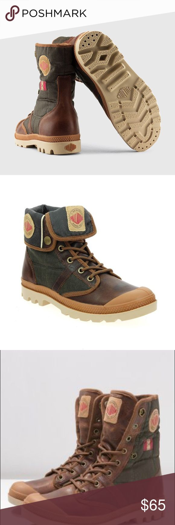 """Women's Palladium Baggy Exp RNL F The Palladium Baggy Exp Rnl F Boots feature a Synthetic upper with a Round Toe . The Rubber outsole lends lasting traction and wear.   Features  Synthetic Rubber sole Shaft measures approximately 7.5"""" from arch The style name / style number is Baggy Exp Rnl F / 93600-260-M Color: Khaki Material: Synthetic Measurements: Shaft measures 7.5"""", Circumference measures 9"""" and 1"""" heel Width: B(M) Palladium Shoes Lace Up Boots"""