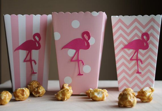 Flamingo Popcorn Boxes, Flamingo Party Decoration, Hawaiian Party, Luau Party Decoration, Tropical P