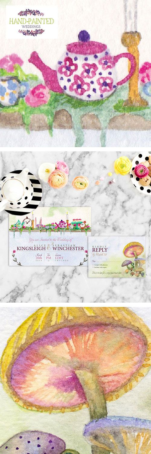 The hand-painted Alice in Wonderland wedding Invitation is a unique, whimsical watercolor wedding invitation perfect for tea party weddings. Painted by Hand-Painted Weddings