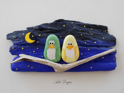 painted driftwood and painted rocks