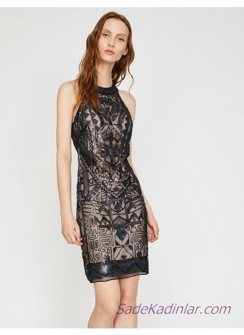d0b2acda94891 Koton Abiye Elbise Modelleri Siyah Kısa Kolsuz Boncuk İşlemeli ...