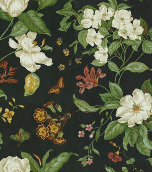 Waverly Home Decor Fabric Garden Images Black