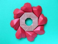 Origami, diagrams: Ghirlanda di cuori - Garland of hearts by Francesco Guarnieri