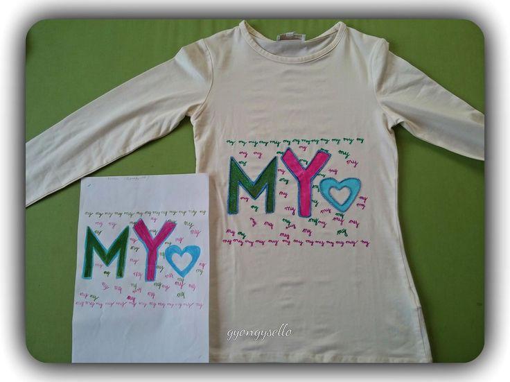 10 éves kislány, rajza és terve alapján készült, kézzel festett, gyönggyel díszített póló.