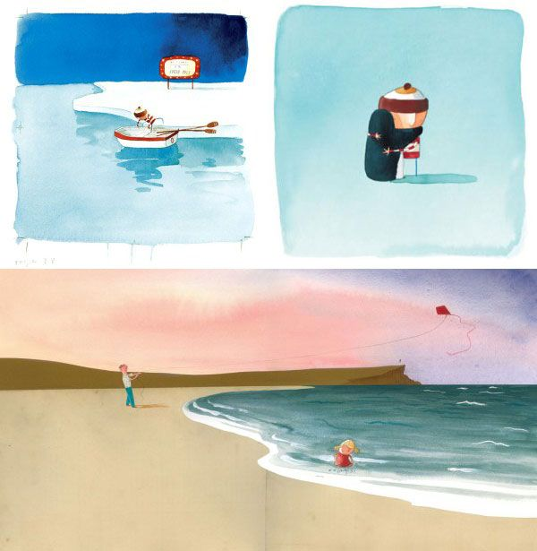 Oliver Jeffers- collection of Oliver Jeffers images (Lost and Found, The Heart and The Bottle) Images to help with effectively using watercolour, making a bright, clean, clear illustration.