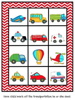 Preschool Printables: Free Mini Vehicles Printable