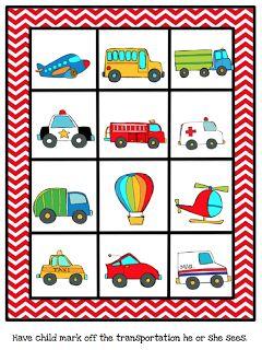 Preschool Printables: Free Mini Vehicles Printable