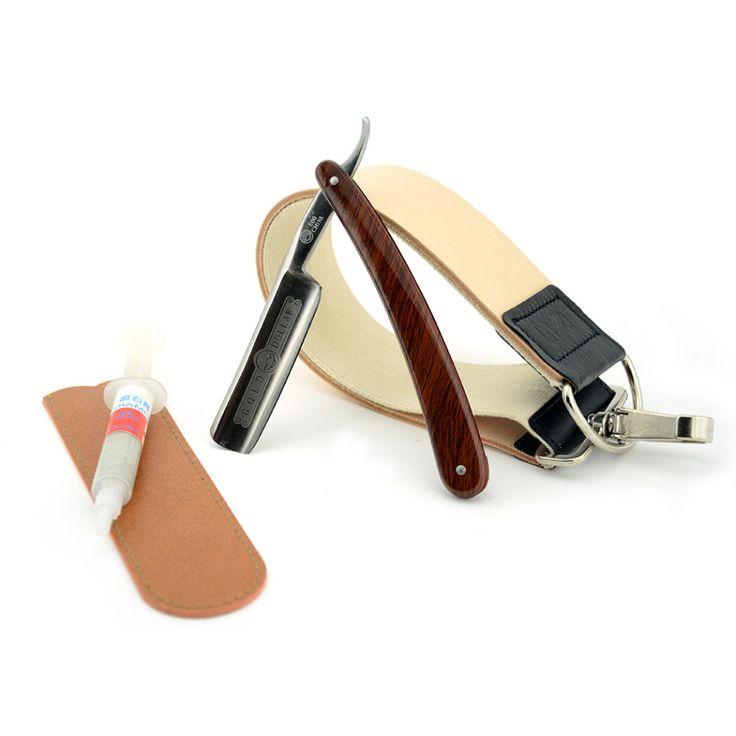 Vintage Men Shave Beard Straight Shaving Razor Cut Throat Knife Gold Dollar 800 + Leather Sharpening Strop + Polishing Paste #Affiliate