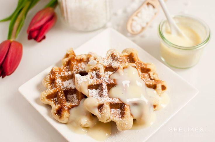 Lütticher Waffeln & schnelle Vanillesoße aus Puddingpulver #letscooktogether