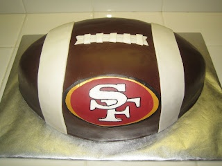 49er cake. If I was more confident with fondant, I would so do this! I think frosting will have to do for now!