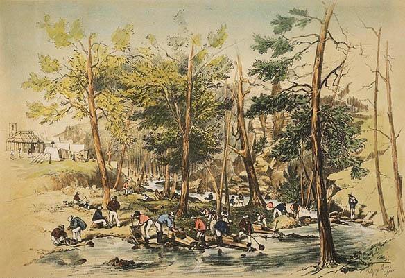 Gold Washing Fitz Roy Bar Ophir Diggings. 1851