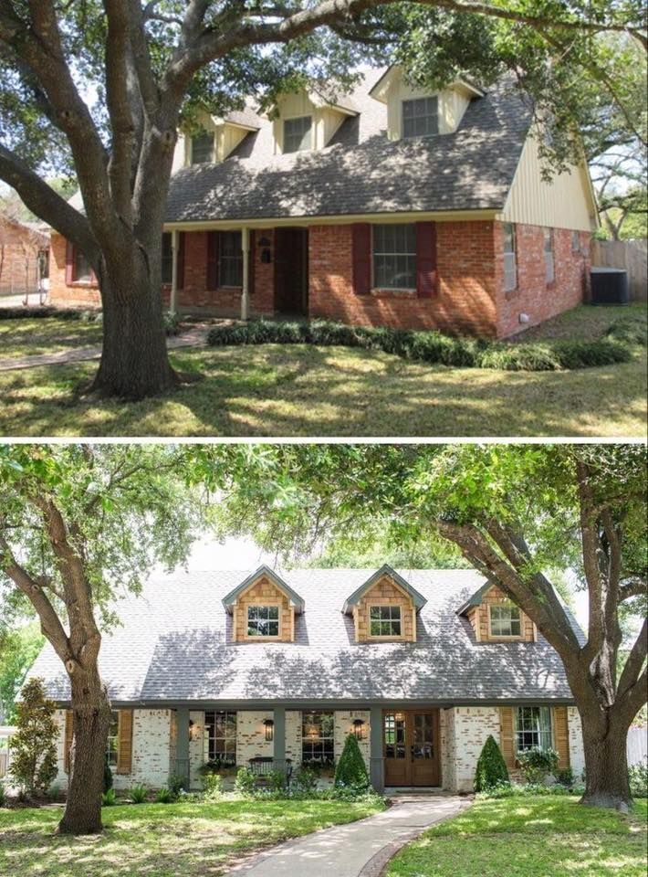 Fixer Upper: Old-World Charm for Newlyweds- brick updated with a German smear techniques and new porch.