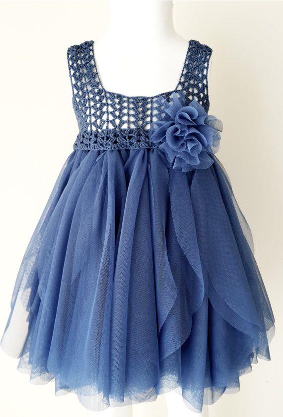 Indigo azul imperio cintura bebé tul vestido con estiramiento del ganchillo Top.Tulle vestido para niñas con blusa de encaje de ganchillo.