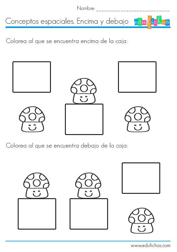 Fichas de conceptos: encima y debajo. Más fichas como esta en:  http://www.edufichas.com  #fichas #worksheets #diferencias #conceptos #nociones