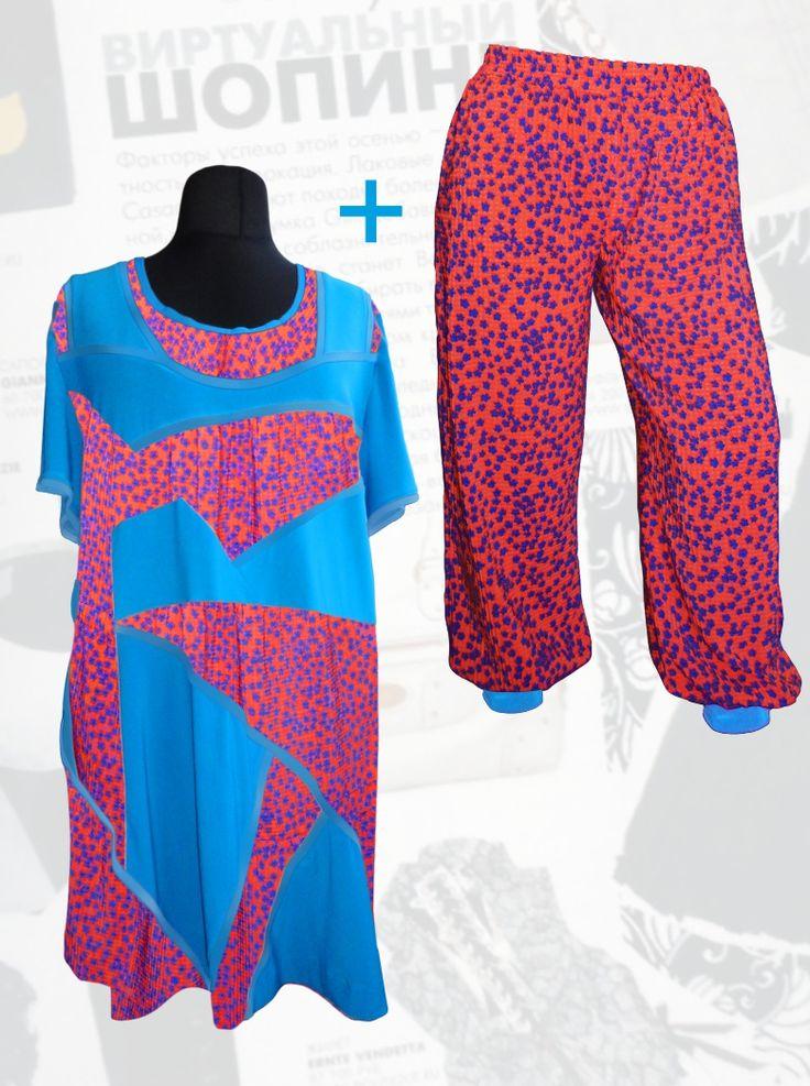 59$ Летний шифоновый брючный костюм для полных девушек: трикотажная туника с шифоновыми голубыми вставками в мелкий синий цветочек + шифоновые брюки-шаровары Артикул 697, р50-64