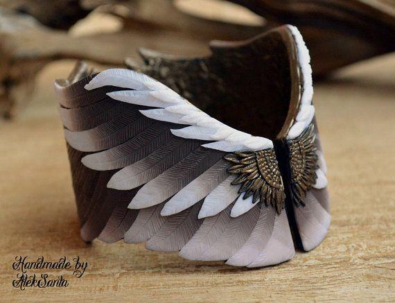 Wing bracelet cuff bangle Polymer clay by HandmadeByAleksanta